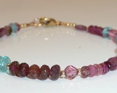 Happenstance bracelet - pink tourmaline, pink topaz, apatite, rhodolite and vermeil bracelet