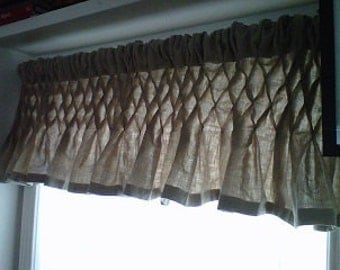 Fabulous Natural Organic Linen Smocked Curtain Valances 52 X 15 By Nouveau  Bella