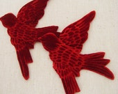 Pair RED VELVET BIRDS  Millinery  Ruby Pressed Pieces Large  Embossed from Antique Molds  mORE  AVAIlABLE