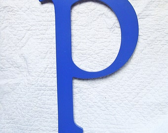 "LARGE  LETTER P or Small D Royal Blue Lucite Acrylic 17"" inches tall Sign Architectural Salvage"