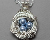 Baby Blue and Silver Bird's Nest Necklace Adorned