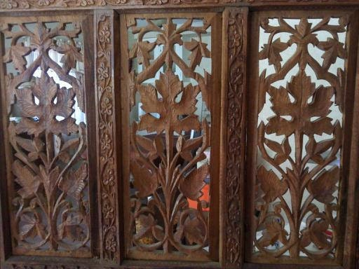 Carved Wooden Screens ~ Antique hand carved teak wood room divider screen now