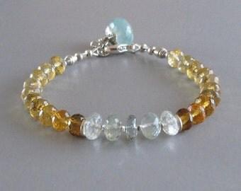 Aquamarine Ombre Hessonite Garnet Bracelet2Chalcedony Sterling Silver Bead DJStrang Boho Cottage Chic Gemstone Blue Aqua Honey