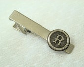 Personalized Tie Clip, Letter Tie Bar, Antiqued Silver - Made to Order