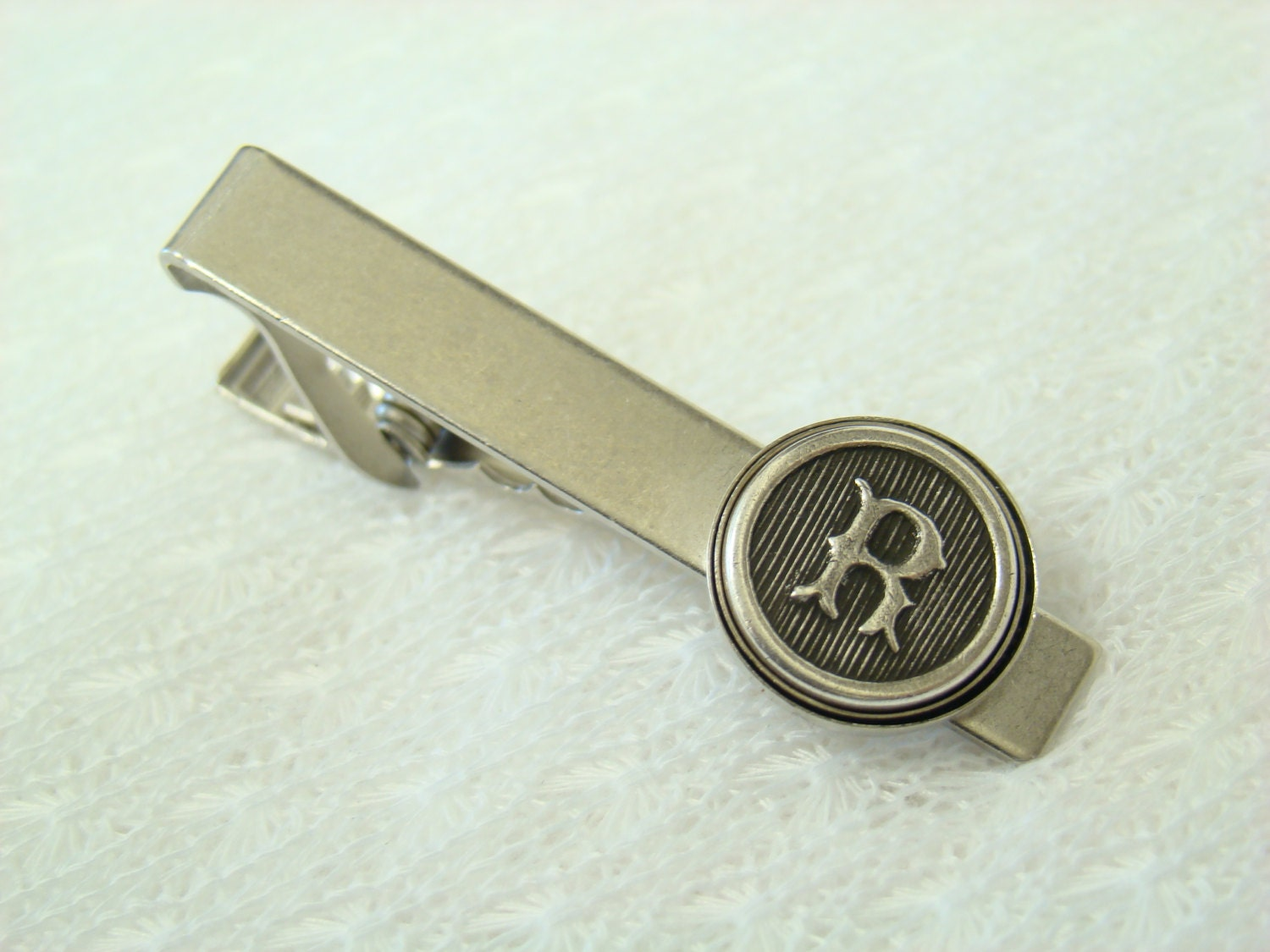 personalized tie clip letter tie bar antiqued by