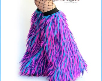Fluffies Hot Pink, Purple, Blue Monster Fur Rave Wear Furry Leg Warmers