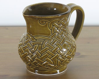 Amber Celadon Celtic Knotwork Pitcher