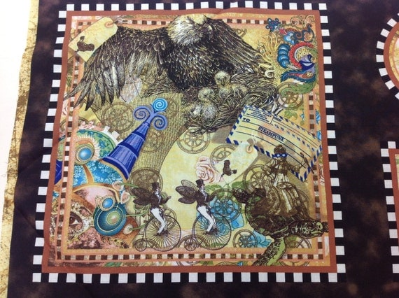 Quilting Treasures Fabric Victorian Dream Steampunk Panels 24