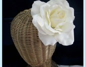 Ivory Rose Flower Hair Clip And Brooch