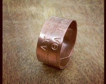 Unisex Ring This Too Shall Pass Inspirational Quote Rustic Copper Gift for Him Gift For Her Engraved in English or Greek
