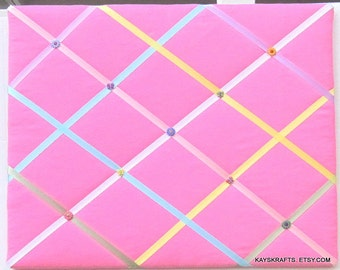 Hot Pink with Multi Colored Ribbons Memory Board French Memo Board, Fabric Ribbon Bulletin Board, Ribbon Pin Board, Girls Bedroom Decor