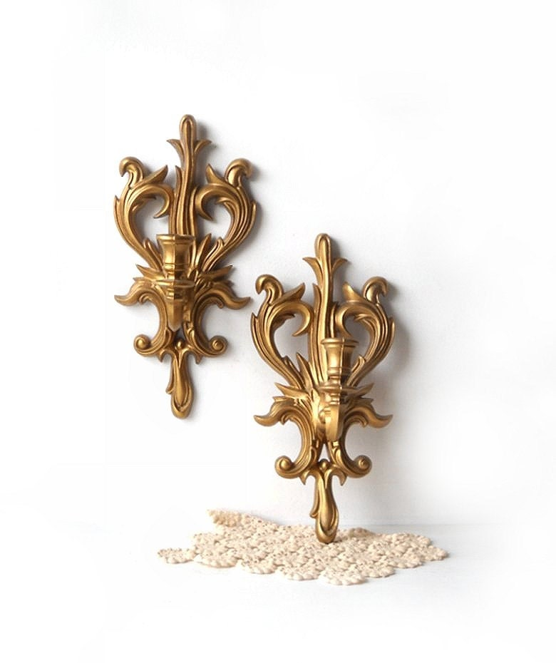 Wall Sconces Gold : Pair Vintage Gold Candle Wall Sconces Plastic Candle Holders