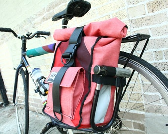 Strawberry Pink Pannier/Backpack Hybrid Bag w/ 3 Colorful Diagonal Stripes
