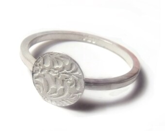 Photo etched Volutes Ring, sterling silver - hallmarked