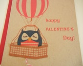 Susie the Owl Hot Air Balloon Happy Valentine's Day Felt Heart Note Card with Envelope