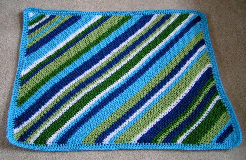 Baby boy blanket crochet diagonal stripes in greens and blues