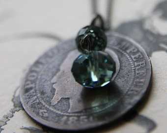 1856 Necklace with Antique French Coin and Swarovski Crystal