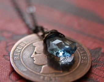 Sky Blue Necklace with Antique French Coin and Swarovski Crystal
