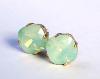 Mint Green Opal Crystal Stud Earrings - Classic Sparkling Seafoam Solitaire Swarovski 12mm or 10mm Sterling Post & Copper - Women's Jewelry