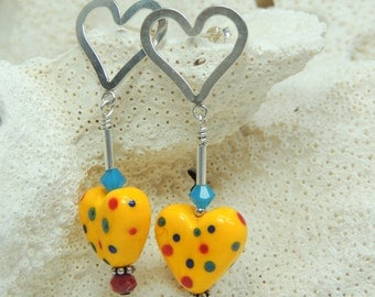 YOU had ME at HELLO Handmade Lampwork Bead Dangle Earrings