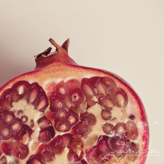 Still Life Fine Art Photograph, Red Pomegranate, Food, Juicy Seeds, Macro Photo, Kitchen Art, Winter Fruit, Ruby Red, 5x5 Print
