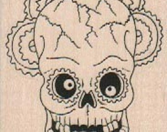 skull and cross bones pirate  rubber stampo Day of the Dead rubber stamps     wood mounted 18602