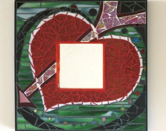 Glass Mosaic Mirror - Sale - Crazy Love - Heart and Arrow Design - Functional Art