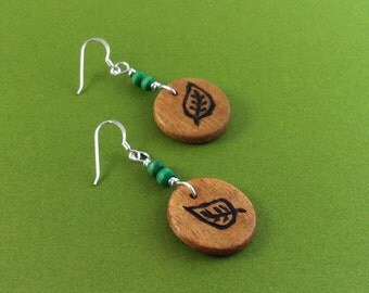 Wood Burned Leaf Earrings - Sterling Silver and Wood Beads