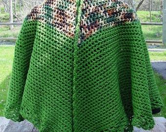Cape Green and  Fall Tweed - Handmade Crochet - Fall Winter Accessory