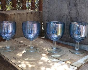 4 Vintage Blue Bartlett Collins Dimple Goblets