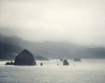 Arcadia - Oregon Landscape Photography, Cannon Beach Photograph, Coastal Decor, Mountains in Fog, Pacific Ocean, Gray Art Print
