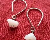 SNOW WHITE Silver loop sea glass earrings by Lake Erie Beach Glass LEbg