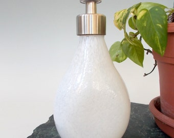 White Hand Blown Art Glass Vanity Soap / Lotion  Dispenser by Rebecca Zhukov