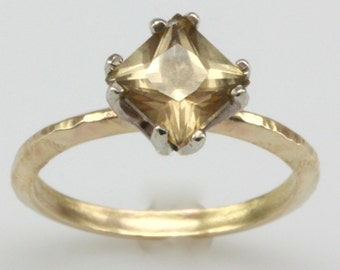 hand made champagne topaz, princess cut, engagement ring, 14k white and yellow gold hammered texture