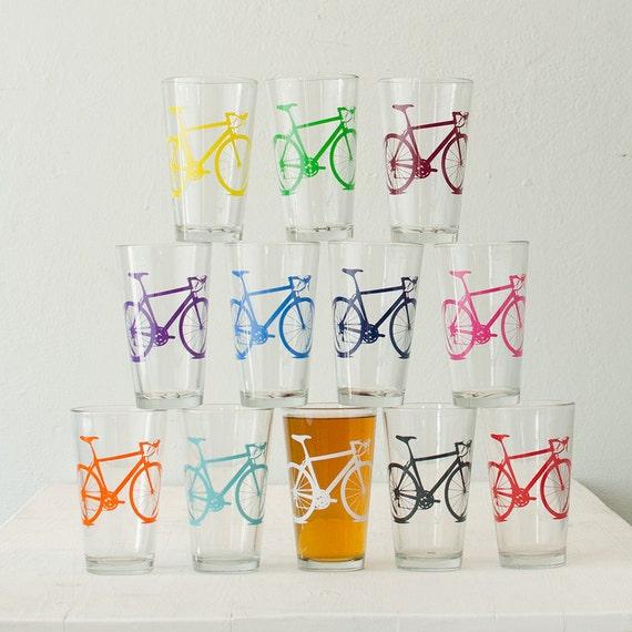 MEGA CRAZY SUPER Bike Party - screen printed bicycle pint glasses, set of 12