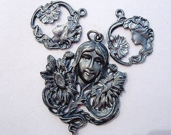 Lovely Trio of Vintage Art Nouveau Ladies Pendants-Charms Jewelry Components