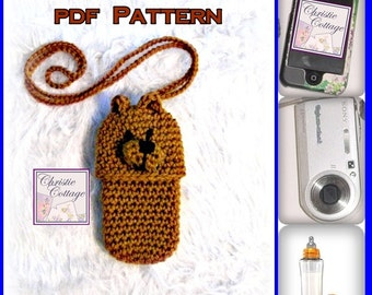 Bear Cell Phone Pouch - Crochet Pattern - PDF 008 - Not a finished product (Cozie,Case,Holder)