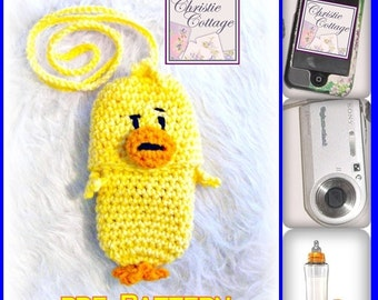 Duck Cell Phone Pouch (Camera, bottle, cozie, holder) Crochet Pattern  PDF 006 - Not a Finished product