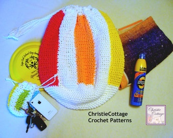 Beach Ball Bag, Beach Bag with Pouch, Crochet Pattern, PDF