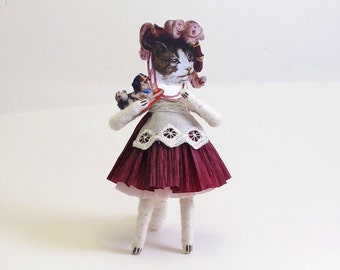 Vintage Inspired Spun Cotton Victorian Kitty Figure/Ornament
