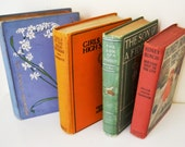 Colorful Shabby Book Stack - Home Decor - Book Collection - Wedding - Photo Prop - Shelf Filler