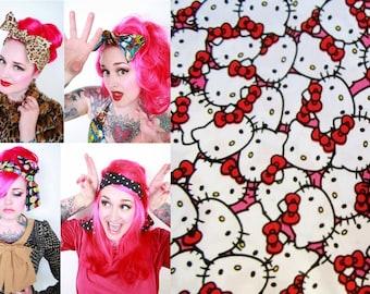 Hello Kitty Bow Bandana Head Wrap -Retro Rockabilly