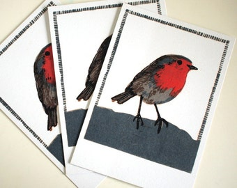 3 postcards - robin - A6 - 100% ECO