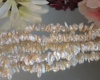 "5"" Strand Snowy White Keishi Cornflake Pearls- Bastet's Beads- 2x7mm"