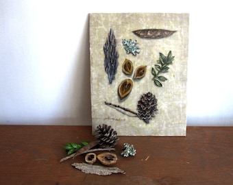Forest Findings, pinecone pod nutshell leaves bark moss, woodland forest rustic, Original Fabric on Wood art