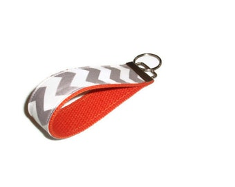 Gray Chevron Wristlet Keychain with Orange