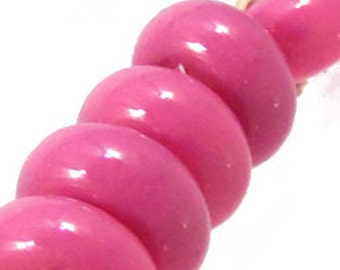 Bright Orchid Pink Spacers, 6 glass beads