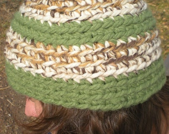 Green, Cream, Tan and Brown Crocheted Beanie W/ Matching Finger Weave Scarf