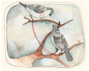 Art - Art Print - Bird Art - Watercolor Art Print - Two Birds - Blue Birds - Print of Painting - Painting - 8x10 Print  -  Well Hello There