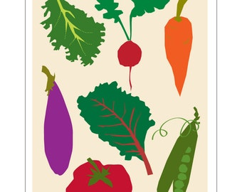 vegetable poster 13 x 19 inches vibrant kitchen art wall decor